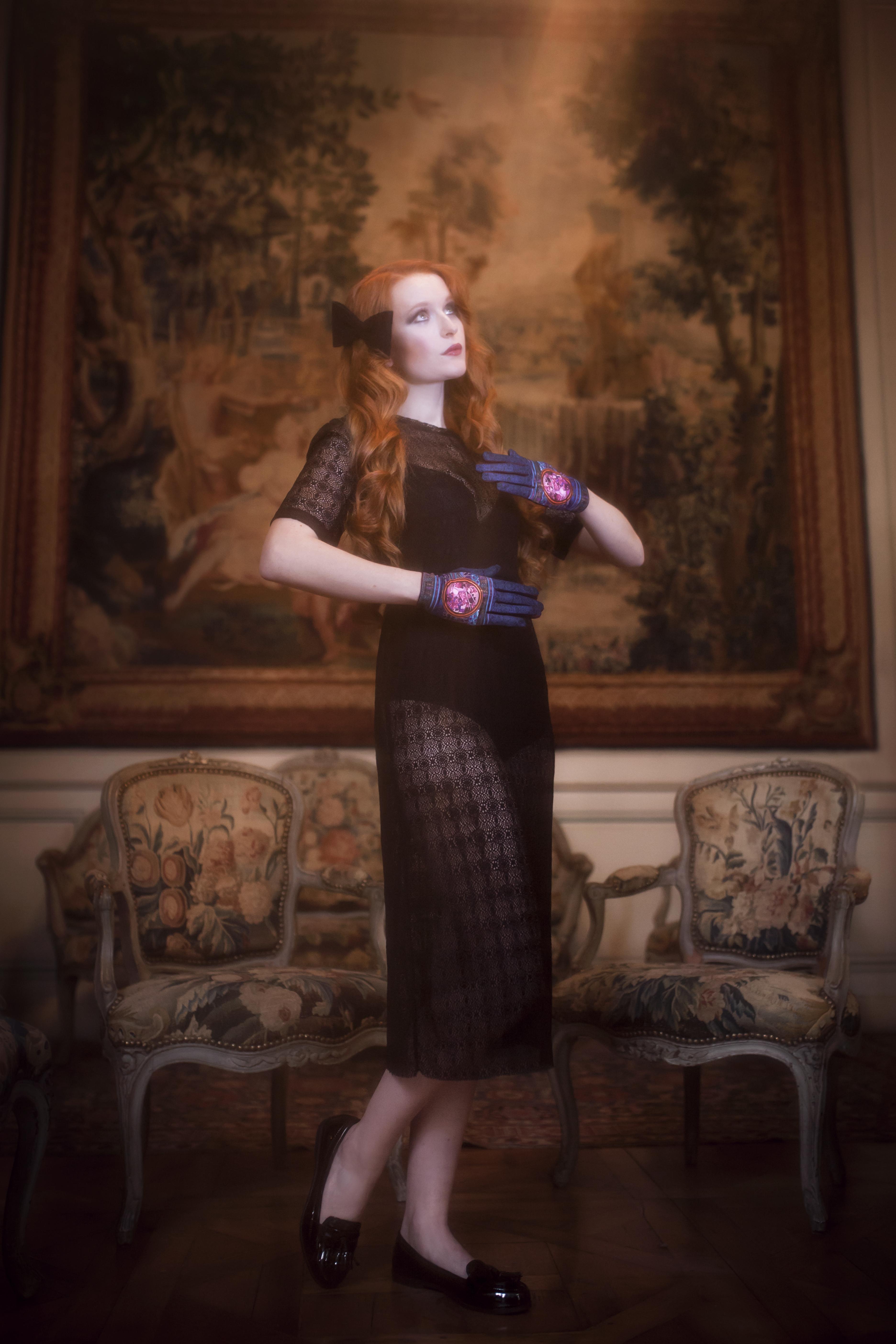 gants femme cuir et maille imprimée. Modèle de gants Darwin
