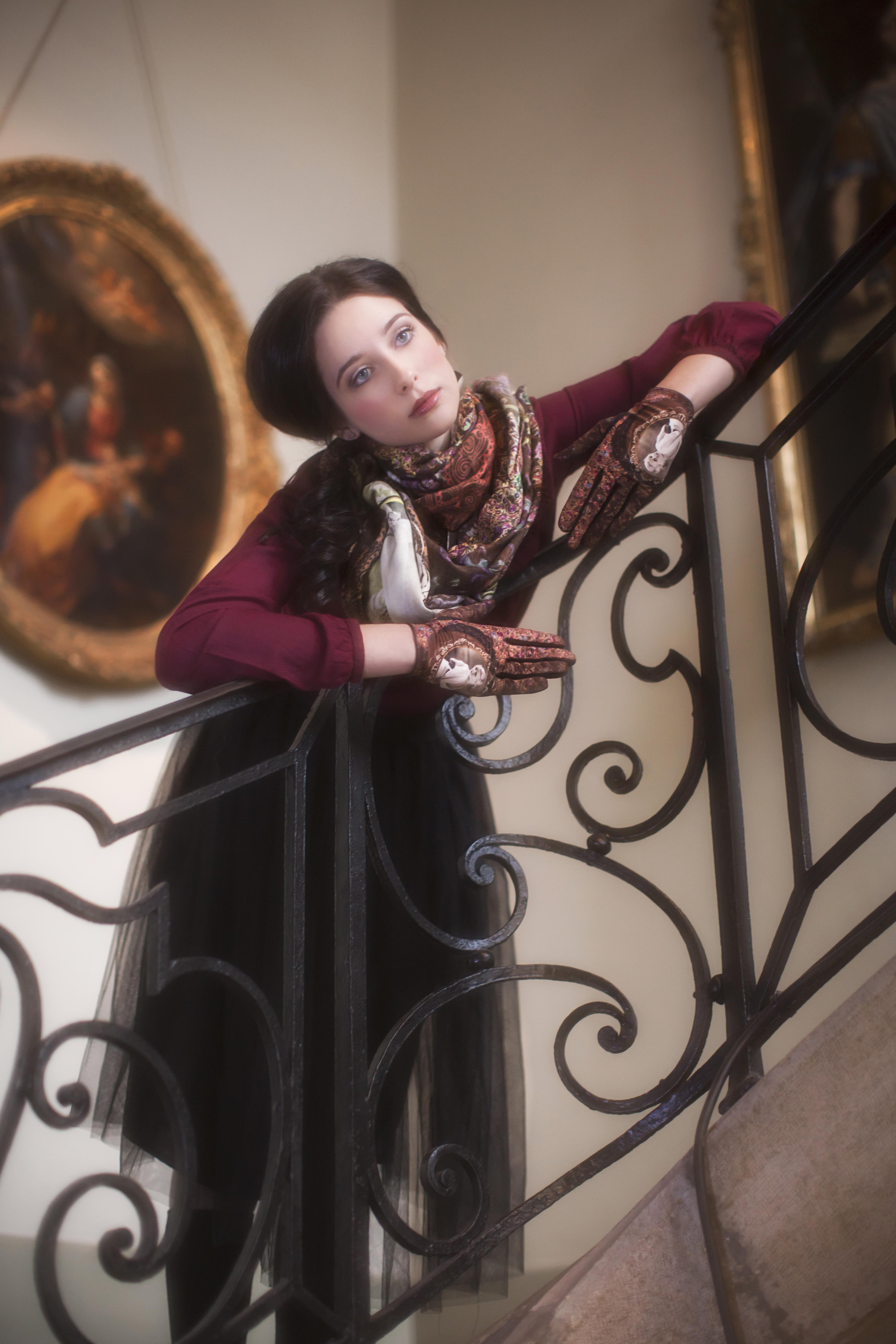 gants femme cuir et maille imprimée. Modèle de gants Elizabeth