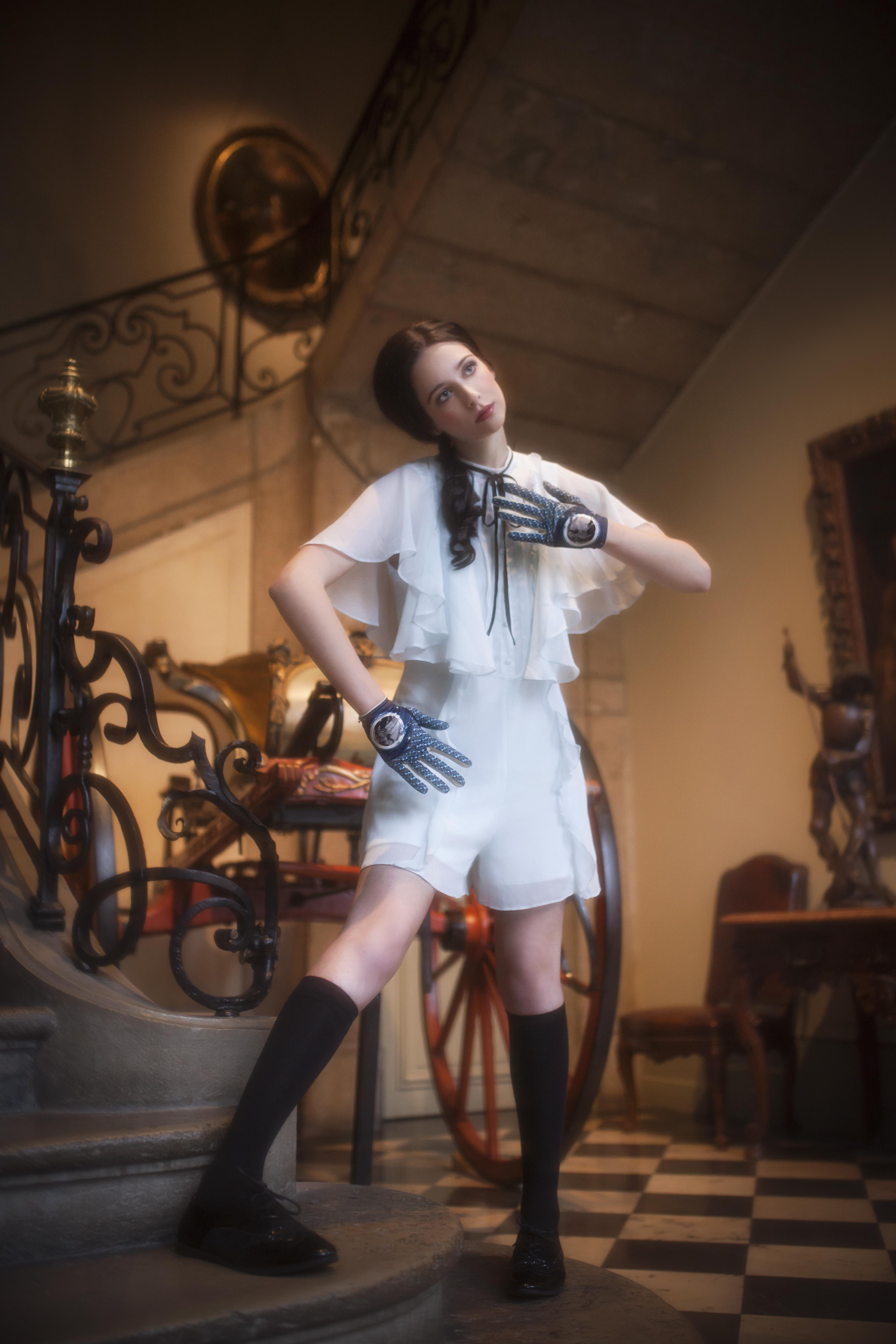 gants femme cuir et maille imprimée. Modèle de gants Lauren