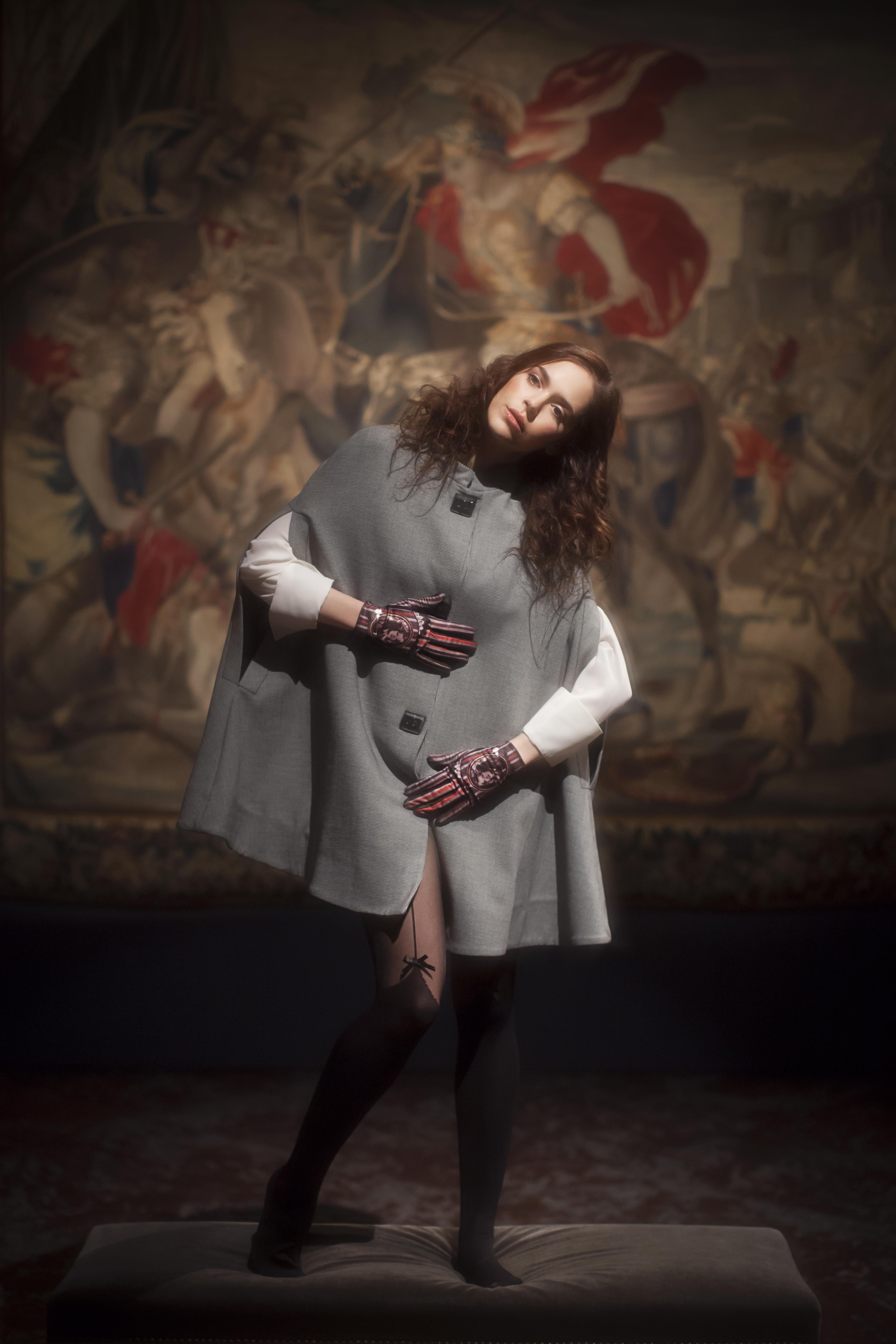 gants femme cuir et maille imprimée. Modèle de gants Marc