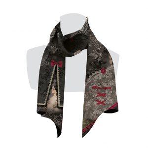 écharpe pour femme gris et rose